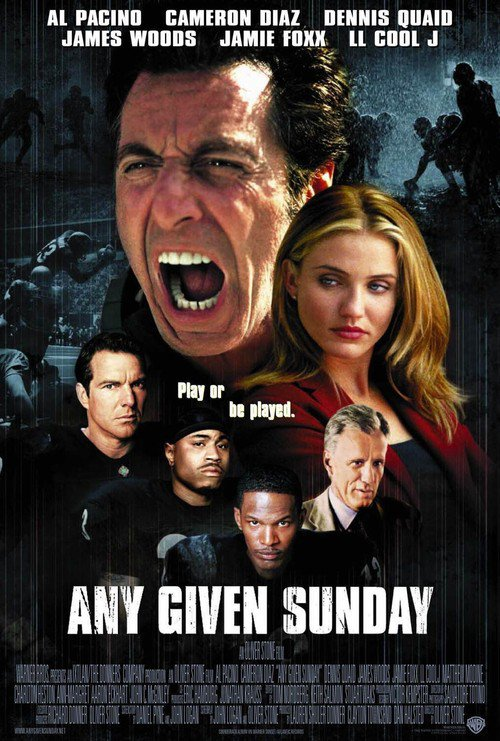 "Poster for the movie ""Any Given Sunday"""